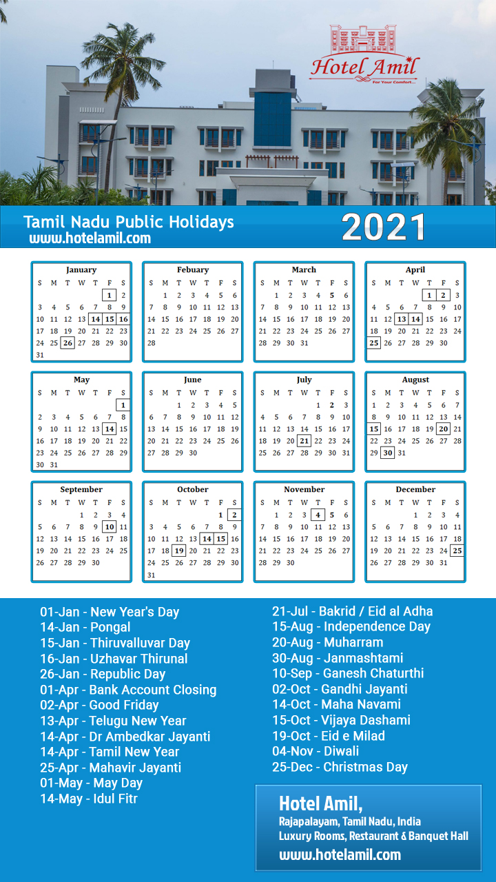 Tamil Nadu Government Holiday Calendar 2021 - Free Download